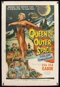 4x077 QUEEN OF OUTER SPACE linen 1sh '58 artwork of sexy full-length Zsa Zsa Gabor on Venus!