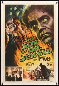 4x079 SON OF DR. JEKYLL linen 1sh '51 Louis Hayward, Jody Lawrance married a monster, great image!
