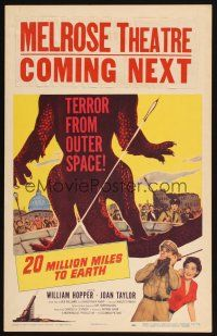 4x013 20 MILLION MILES TO EARTH WC '57 out-of-space creature invades the Earth, cool monster art!
