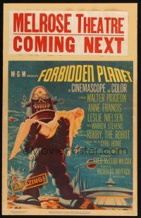4x011 FORBIDDEN PLANET WC '56 most classic art of Robby the Robot carrying sexy Anne Francis!