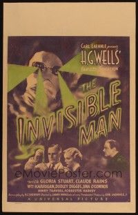 4x001 INVISIBLE MAN WC '33 James Whale classic, Claude Rains, H.G. Wells, wonderful sci-fi image!