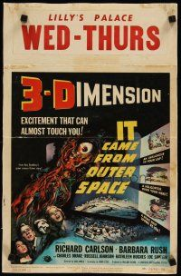 4x018 IT CAME FROM OUTER SPACE linen WC '53 Ray Bradbury, classic 3-D sci-fi, cool artwork!