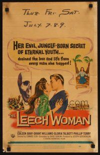 4x019 LEECH WOMAN WC '60 deadly female vampire drained love & life from every man she trapped!