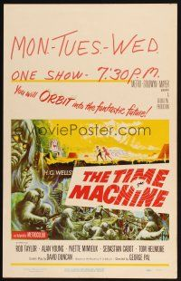 4x024 TIME MACHINE WC '60 H.G. Wells, George Pal, great Reynold Brown sci-fi artwork!