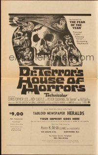 4x032 DR. TERROR'S HOUSE OF HORRORS herald '65 Christopher Lee, cool newspaper style!