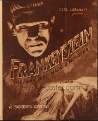 4x025 FRANKENSTEIN herald '31 great close up artwork of Boris Karloff as the monster!