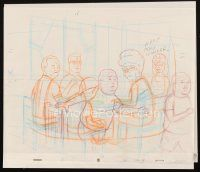 5a037 KING OF THE HILL animation art '00s cartoon pencil drawing of the Hill family at table!