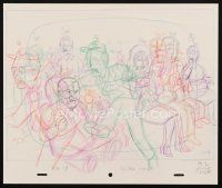5a056 KING OF THE HILL animation art '00s cartoon pencil drawing of Dale & Cotton Hill in church!
