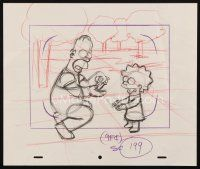 5a007 SIMPSONS animation art '00s cartoon pencil drawing of Homer smiling with Lisa!
