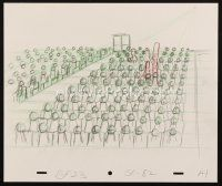 5a022 SIMPSONS animation art '00s cartoon pencil drawing of Marge standing in theater audience!