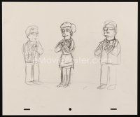 5a024 SIMPSONS animation art '00s cartoon pencil drawing of a woman between two guys!
