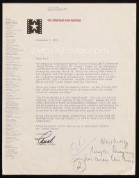 5a065 CHARLTON HESTON signed letter '73 inviting agent Paul Kohner to James Cagney AFI tribute!