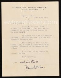 5a066 DAVID MCCALLUM signed letter '62 telling Paul Kohner he wants to be in The Great Escape!