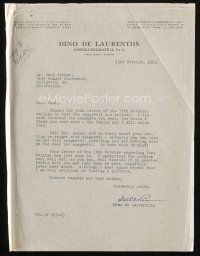 5a068 DINO DE LAURENTIIS signed letter '63 telling agent the spaghetti he sent won't put on weight!