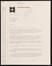 5a069 GEORGE STEVENS JR. signed letter '74 trying to get Paul Kohner to create an AFI scholarship!