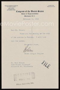 5a070 HELEN GAHAGAN signed letter '46 when she was a member of Congress on her stationery!