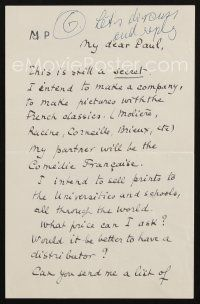 5a060 MARCEL PAGNOL signed letter '30s telling friend Paul Kohner about his secret plans!
