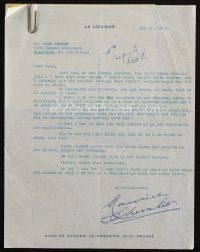 5a059 MAURICE CHEVALIER signed letter '59 saying that he hates Jerry Lewis & won't work with him!