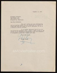 5a072 MICKEY ROONEY signed letter '50 agreeing to be represented for three months by Paul Kohner!
