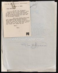 5a073 OLIVIA DE HAVILLAND signed letter '58 complaining to agent she wasn't paid by Stanley Kramer!