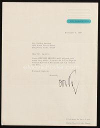 5a074 OTTO PREMINGER signed letter '67 letter of thanks to composer on his stationary!