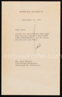 5a076 ROBERT ALDRICH signed letter '56 submitting a script for Machine For Chuparosa!