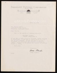 5a077 ROMAN POLANSKI signed letter '68 giving his telegram address in Poland to his agent!