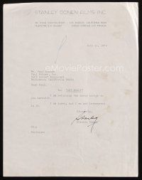 5a078 STANLEY DONEN signed letter '74 telling his agent he is not interested in Get Money script!
