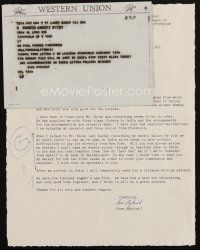 5a079 SVEN NYKVIST signed letter '71 he just finished Bergman's The Touch & he thinks it is great!