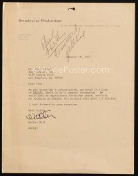5a080 WALTER HILL signed letter '77 sending Kohner a screenplay of a movie he wanted to make!