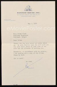 5a063 BENNETT CERF signed letter '70 the publisher thanking a writer for saying nice things!