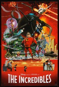 5b004 INCREDIBLES rare alternate style 1sh '04 Disney/Pixar, cool different McGinnis art!