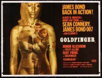 5h071 GOLDFINGER linen British quad '64 incredible image of Connery as James Bond in golden girl!