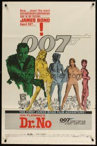 5h002 DR. NO white smoke 1sh '62 Sean Connery is the most extraordinary gentleman spy James Bond 007