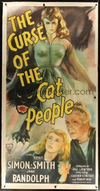 5j021 CURSE OF THE CAT PEOPLE linen 3sh '44 art of sexy Simone Simon + huge snarling black panther!