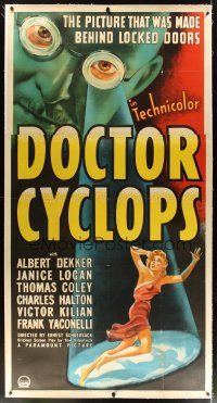 5j022 DOCTOR CYCLOPS linen 3sh '40 Ernest B. Schoedsack, cool art of mad scientist & tiny woman!