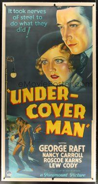 5j032 UNDER-COVER MAN linen 3sh '32 Carroll & Raft must act nice to the man who killed her brother!
