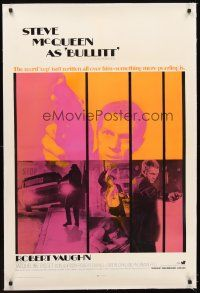 5j265 BULLITT linen int'l 1sh '68 different image of Steve McQueen, Peter Yates car chase classic!