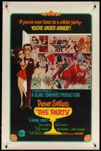 5j383 PARTY linen style A 1sh '68 Peter Sellers, Blake Edwards, different art NOT by Jack Davis!