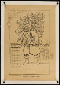 5j070 ARRIVAL OF SANTA CLAUS linen 19x27 art print 1894 great image with Christmas tree & reindeer!