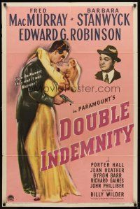 5k069 DOUBLE INDEMNITY style A 1sh '44 Billy Wilder, Barbara Stanwyck,Fred MacMurray,Ed G. Robinson!