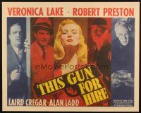 5k182 THIS GUN FOR HIRE style B 1/2sh '42 different image of Alan Ladd & sexy Veronica Lake!