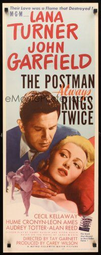 5k206 POSTMAN ALWAYS RINGS TWICE insert '46 great close up of John Garfield & sexy Lana Turner!