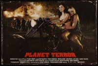 5k243 PLANET TERROR special 27x40 '07 sexy Rose McGowan & Marley Shelton on motorcycle!