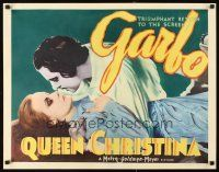 5m023 QUEEN CHRISTINA 1/2sh '33 great completely different deco artwork of glamorous Greta Garbo!