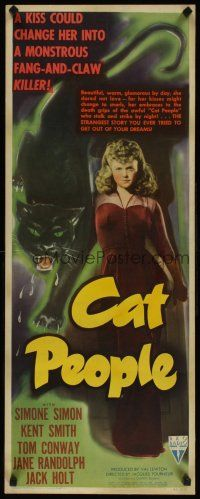 5m027 CAT PEOPLE insert '42 Val Lewton, full-length sexy Simone Simon by black panther!