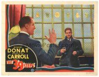 5m218 39 STEPS LC '35 Alfred Hitchcock, most classic image of Robert Donat w/ man with 4 fingers!