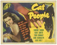 5m236 CAT PEOPLE TC '42 Lewton & Tourneur classic, close up of sexy Simone Simon by black panther!