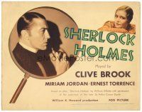 5m279 SHERLOCK HOLMES TC '32 wonderful c/u of detective Clive Brook with pipe in magnifying glass!