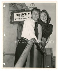 5x343 HOLIDAY AFFAIR candid 8x10 key book still '49 smiling Janet Leigh & Mitchum by Bachrach!